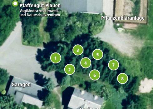 Standort der Klimabäume zwischen Jagdhaus und Pflanzenkläranlage